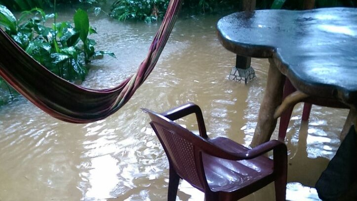 The patio flooded when it rained a lot